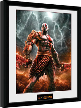 God of War - Kratos Lightening Poster enmarcado