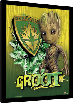 Guardianes de la Galaxia - Groot Shield Poster enmarcado