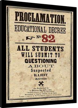 Harry Potter - Educational Decree No. 82 Poster enmarcado