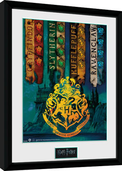 Harry Potter - House Flags Poster enmarcado