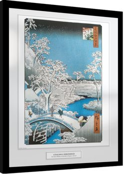 Hiroshige - The Drum Bridge Poster enmarcado