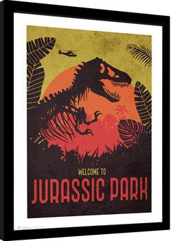 Jurassic Park - Silhouette Poster enmarcado