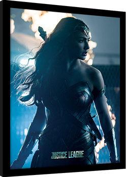 La Liga de la Justicia- Wonder Woman in Enemy Territory Poster enmarcado