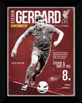 Liverpool - Gerrard Retro Poster enmarcado