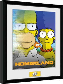 Los Simpson - Homerland Poster enmarcado