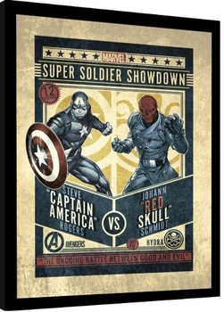 Poster enmarcado Marvel Comics - Captain America vs Red Skull
