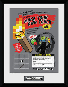 Minecratf - Make Your Own Torch Poster enmarcado