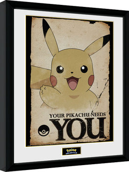 Pokemon - Pikachu Needs You Poster enmarcado