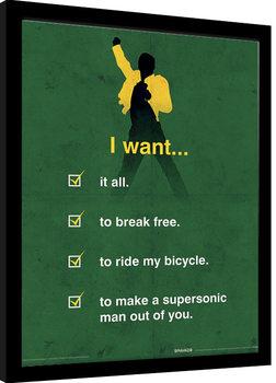Queen - I Want Checklist Poster enmarcado