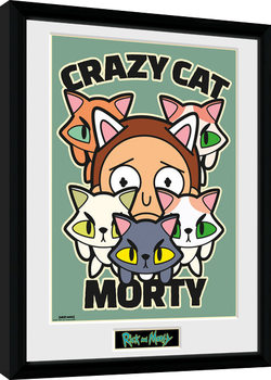 Rick and Morty - Crazy Cat Morty Poster enmarcado