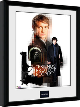Sherlock - Friends Protect Poster enmarcado
