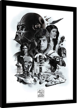 Star Wars 40th Anniversary - Montage Poster enmarcado
