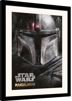 Poster enmarcado Star Wars: The Mandalorian - Helmet
