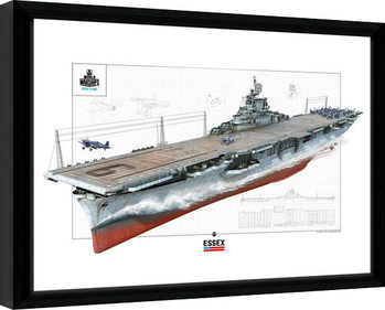 World Of Warships - Essex Poster enmarcado