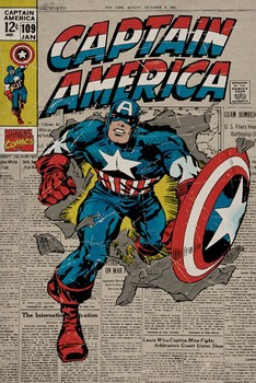 MARVEL - captain america retro - плакат (poster)