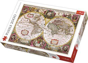 Puzzle Historická mapa světa r. 1630