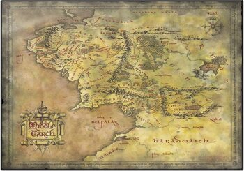 Skrivebordunderlag The Lord Of The Rings - Middle Earth Map