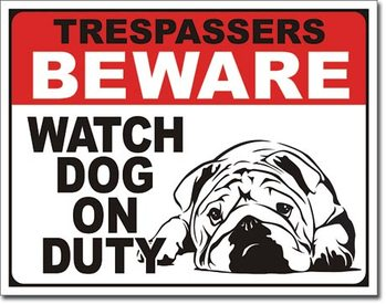 Plåtskylt Dog on Duty