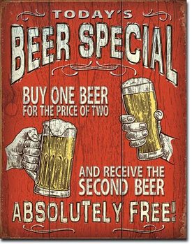 Plåtskylt Todays Beer Special