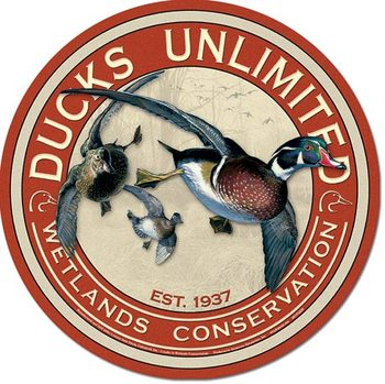 Blechschilder  DUCKS UNLIMITED - Round