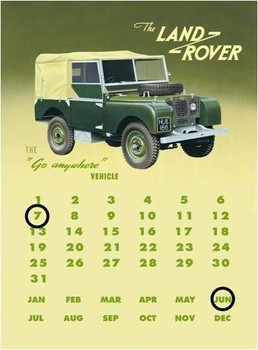 Metallschild Land rover series 1 calendar