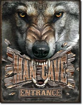 Blechschilder Man Cave Wolf