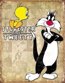 Metallschild Tweety & Sylvester - Retro
