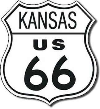 Metallschild US 66 - kansas