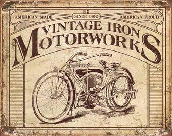 Metallschild VINTAGE IRON MOTORWORKS