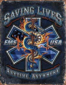 EMS - Saving Lives Metallskilt