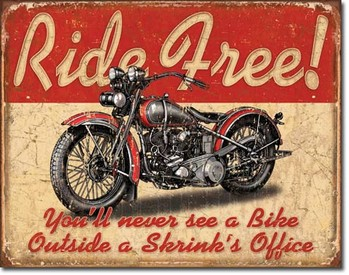 RIDE FREE Metallskilt