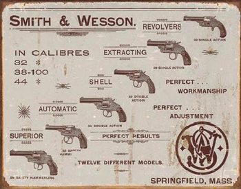 Metallskilt S&W - revolvers