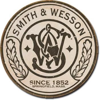 S&W - round Metallskilt