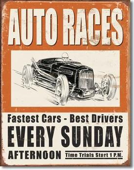 VINTAGE AUTO RACES Metallskilt