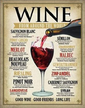 WINE - From Around the World Metallskilt