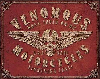 Metalowa tabliczka Don't Tread On Me - Venomous Motorcycles