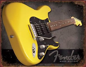 Metalowa tabliczka  FENDER – Make history