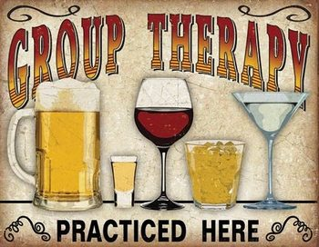 Metalowa tabliczka Group Therapy