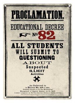 Metalowa tabliczka Harry Potter - Decree 82