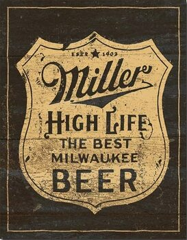 Metalowa tabliczka Miller - Vintage Shield