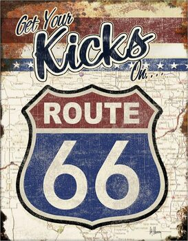 Metalowa tabliczka Route 66 - Get Your Kicks On
