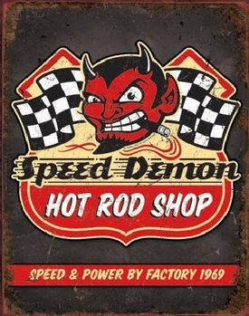 Metalowa tabliczka SPEED DEMON HOT ROD SHOP