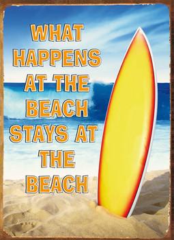 Metalowa tabliczka WHAT HAPPENS BEACH