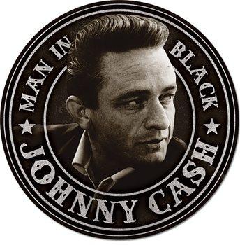 Metalskilt Johnny Cash - Man in Black Round