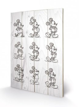 Poster su legno Mickey Mouse - Sketched - Multi