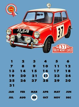 MINI COOPER'S'  CALENDAR Metalen Wandplaat