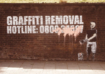 Banksy Street Art - Graffity Removal Hotline Mini plakat