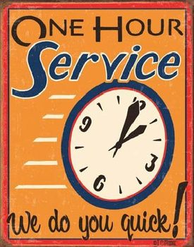 MOORE - ONE HOUR SERVICE Metalen Wandplaat