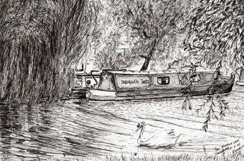 Narrow boats Cambridge, 2005, Festmény reprodukció