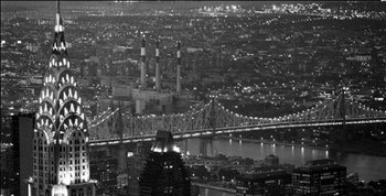 New York - The Chrysler Building and Queensboro bridge Festmény reprodukció